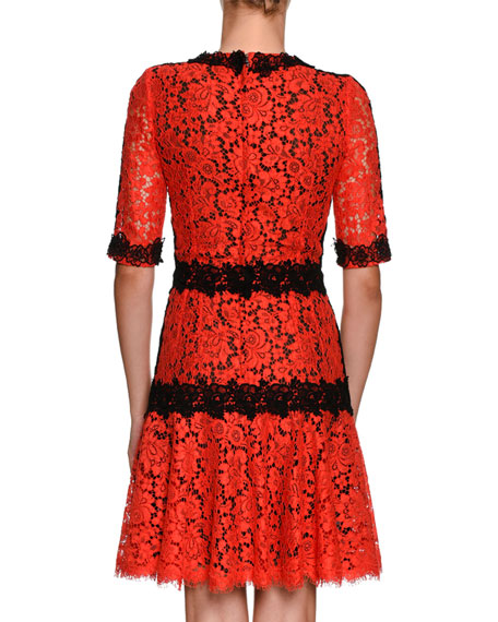 Jewel-Neck Elbow-Sleeve Lace Cocktail Dress w/ Contrast Lace Piping
