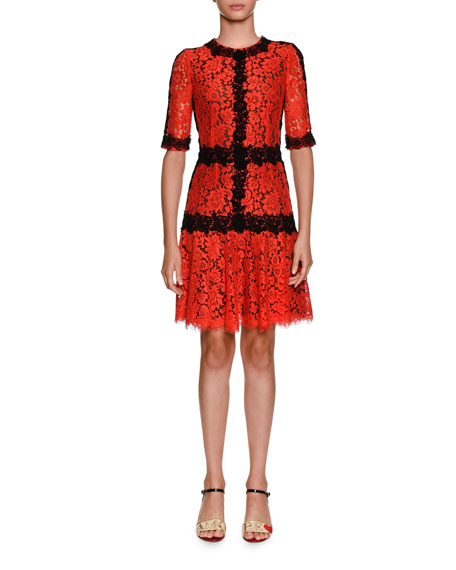 Dolce & Gabbana Jewel-Neck Elbow-Sleeve Lace Cocktail Dress