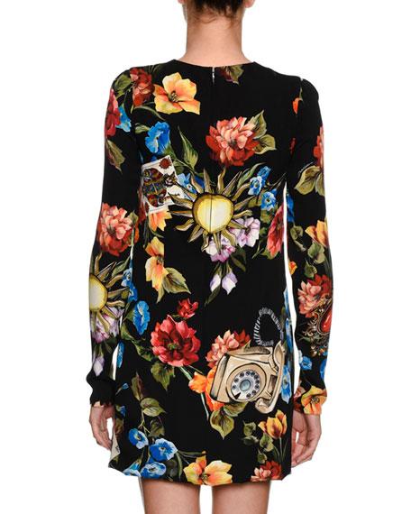 Floral Telephone-Print Long-Sleeve Charmeuse Cocktail Dress