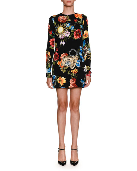 Floral Telephone-Print Long-Sleeve Charmeuse Cocktail Dress