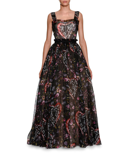 Sacred Heart Printed Sleeveless Organza Evening Ball Gown