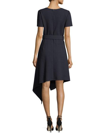 Short-Sleeve Cascading Wool Dress