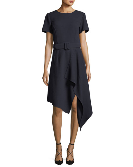 Oscar de la Renta Short-Sleeve Cascading Wool Dress