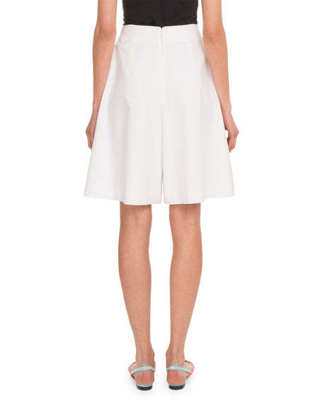 Pleated Cotton Poplin Knee-Length Bermuda Shorts