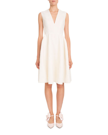 Delpozo Sleeveless V-Neck Fil-Coupe A-Line Short Dress