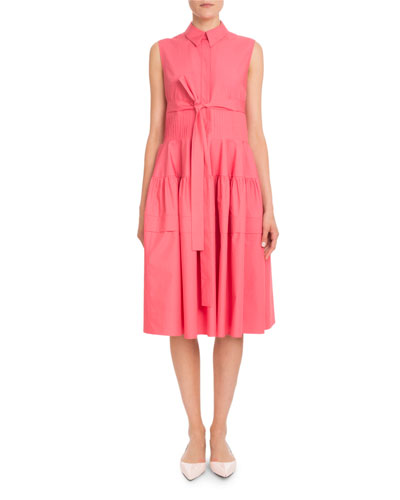 Sleeveless Pleated-Waist Cotton Poplin Shirtdress