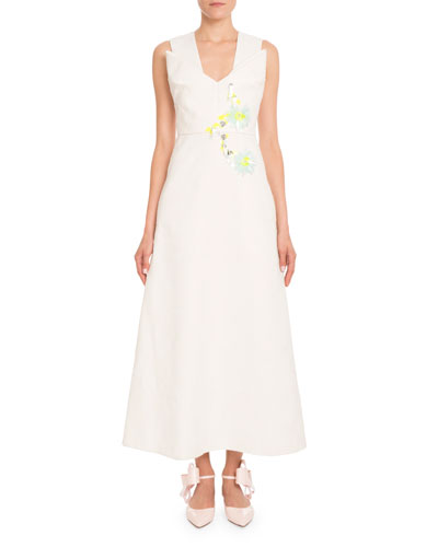 Sleeveless Folded-Detail Fil Coupe Dress with Embellishment