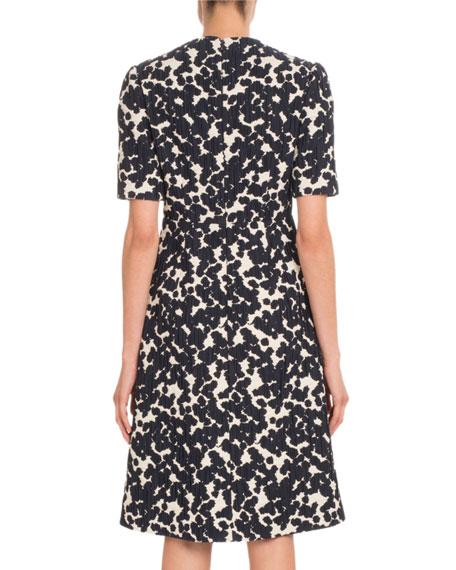 Short-Sleeve Embroidered Jacquard Midi Dress