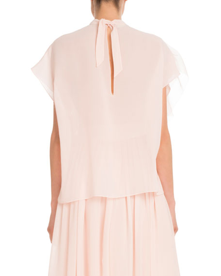 Cap-Sleeve Mock-Neck Silk Georgette Blouse w/ Ruffled Detail