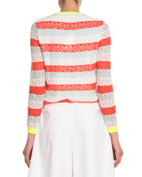 Crewneck Striped Lace Knit Embellished Sweater