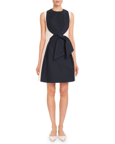 Sleeveless High-Neck Tie-Front Heavy Cotton Knee-Length Dress