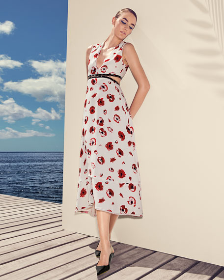 Sleeveless Poppy-Print Midi Dress
