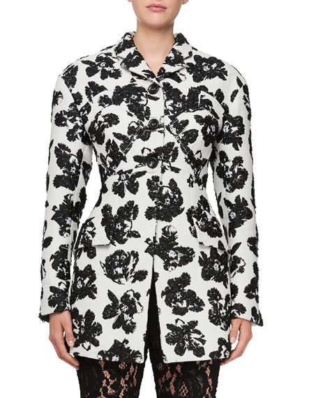 Single-Breasted Floral-Jacquard Jacket