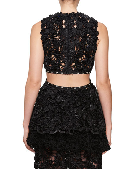 Sleeveless Irish Lace Peplum Top