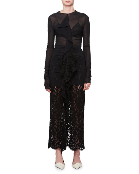 Long-Sleeve Ruffle-Front Lace Gown