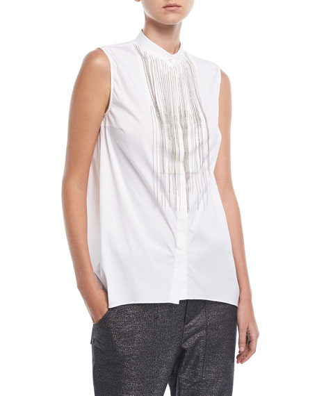 Brunello Cucinelli Sleeveless Cotton Poplin Blouse with Monili