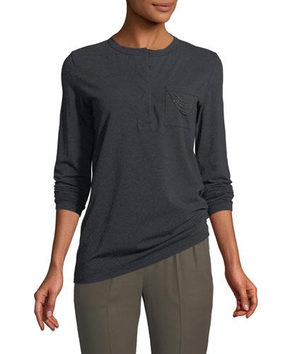 Henley Long-Sleeve Cotton Shirt with Monili Trim