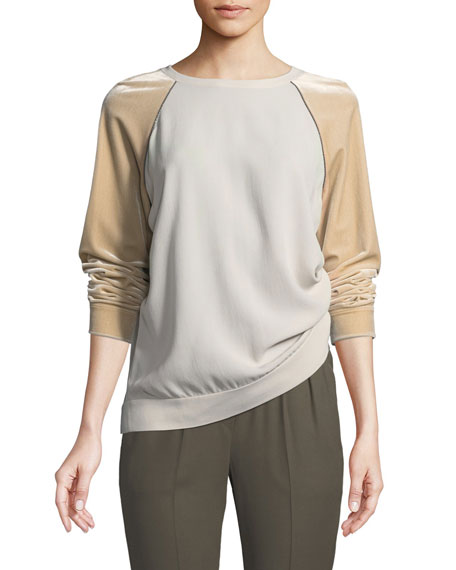 Brunello Cucinelli Velvet-Sleeve Silk Crepe Crewneck Top with