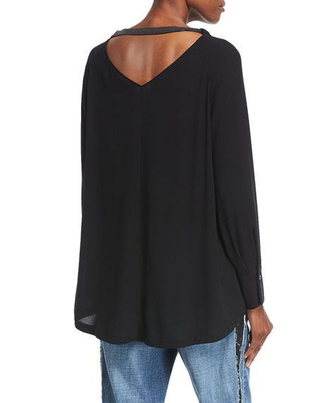 High-Low Silk Blouse with Monili Detail