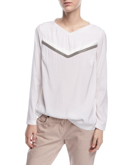 Long-Sleeve Washed Silk Crewneck Top With Monili
