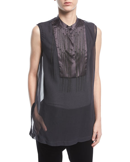 Brunello Cucinelli Sleeveless Organza Top with Chain Waterfall