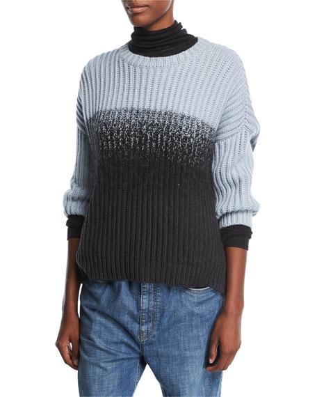Brunello Cucinelli Crewneck Rib-Knit Pullover Cashmere Sweater