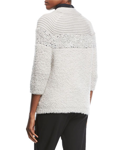Zip-Front Chevron Knit Cashmere Cardigan with Paillettes