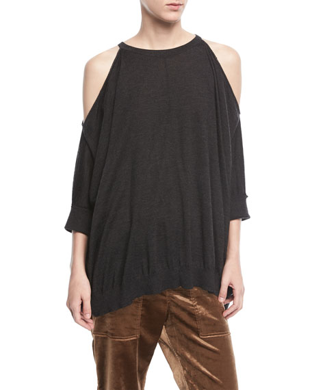 Brunello Cucinelli Cashmere-Silk Cold-Shoulder Pullover Top