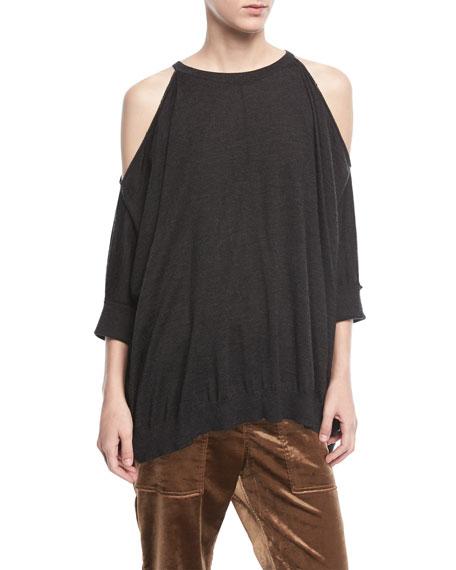 Cashmere-Silk Cold-Shoulder Pullover Top