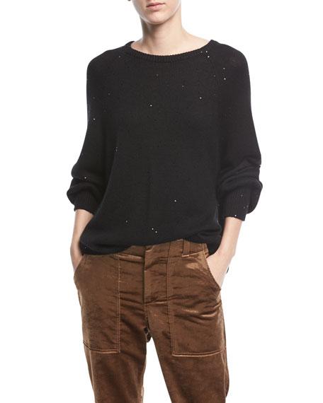 Brunello Cucinelli Crewneck Long-Sleeve Cashmere-Silk Pullover