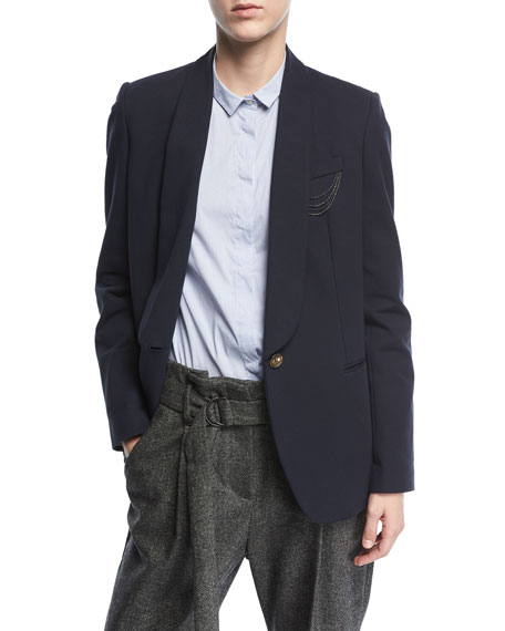Brunello Cucinelli Shawl-Collar One-Button Crepe Blazer with
