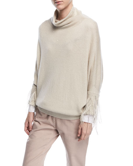 Brunello Cucinelli Turtleneck Paillette Cashmere-Silk Sweater
