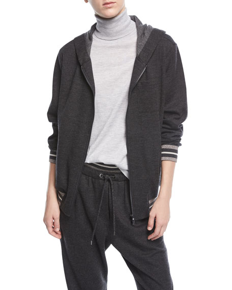 Hooded Zip-Front Cashmere Jacket