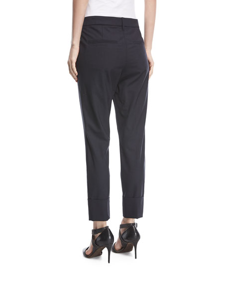 Straight-Leg Wool Ankle Pants
