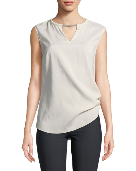 Sleeveless Stretch Silk Tank Top w/ Monili Detail