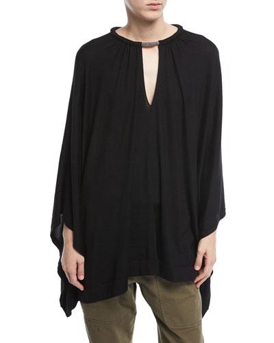 Long-Sleeve Cashmere-Silk Poncho w/ Monili Necklace