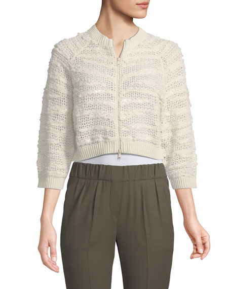 Cashmere Sequin Crop Cardigan