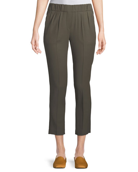 Wool-Viscose Pull-On Cropped Pants