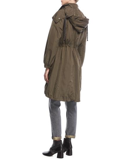 Taffeta Zip-Front Trench Coat