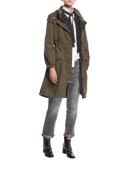 Taffeta Zip-Front Trench Coat