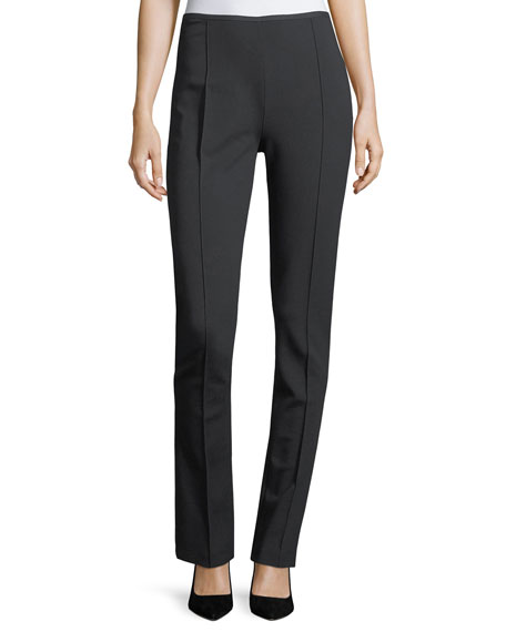 High-Rise Straight-Leg Pintucked Jersey Pants