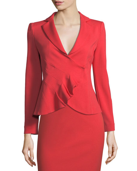 Emporio Armani Garden Rose Asymmetrical Ruched Jacket