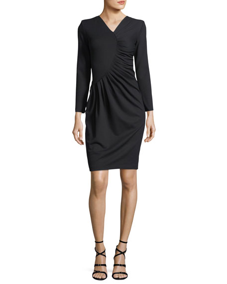 Emporio Armani Long-Sleeve Ruched Jersey Dress