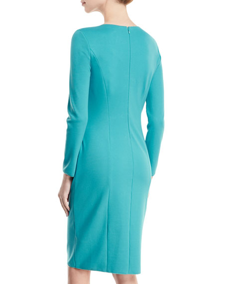 Long-Sleeve Deep-V Ruched Sheath Dress
