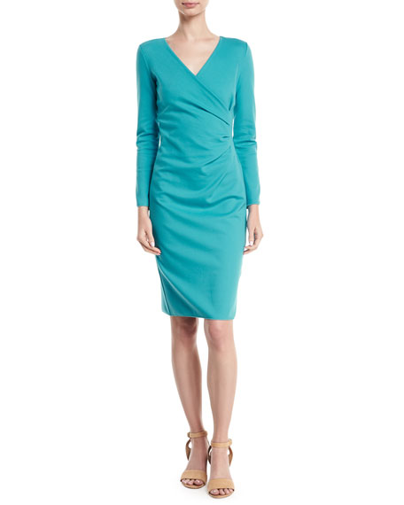 Long-Sleeve Deep-V Ruched Sheath Dress