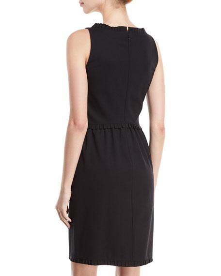 Bateau-Neck Sleeveless Sheath Dress w/ Grosgrain Trim