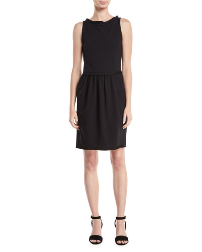 Bateau-Neck Sleeveless Sheath Dress w/ Grosgrain Trim