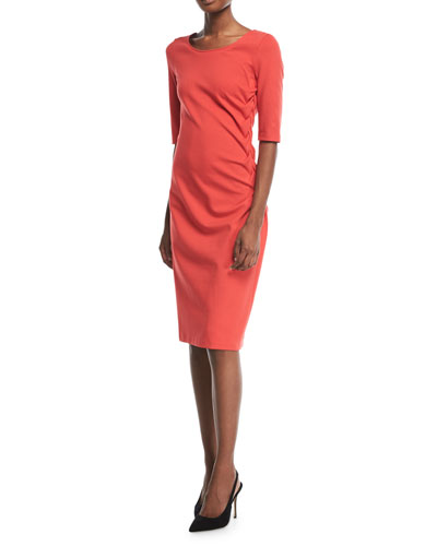 Garden Rose Ruched Sheath Dress
