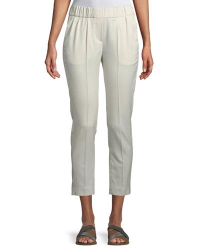 Wool Sateen Ankle Pull-On Pants