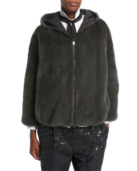 Reversible Mink Fur Hooded Jacket with Taffeta Lining